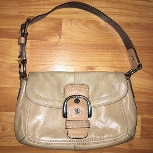Vintage Coach tan cowhide leather handbag